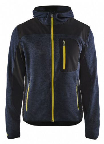 Blaklader 4930 Knitted Jacket with Hood (Dark Navy / Yellow)